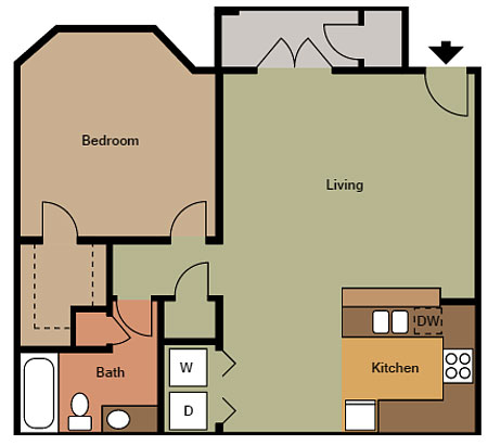 1 Bed 1 Bath, 720 sqft
